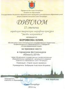 Диплом II степени Боркова Юлия