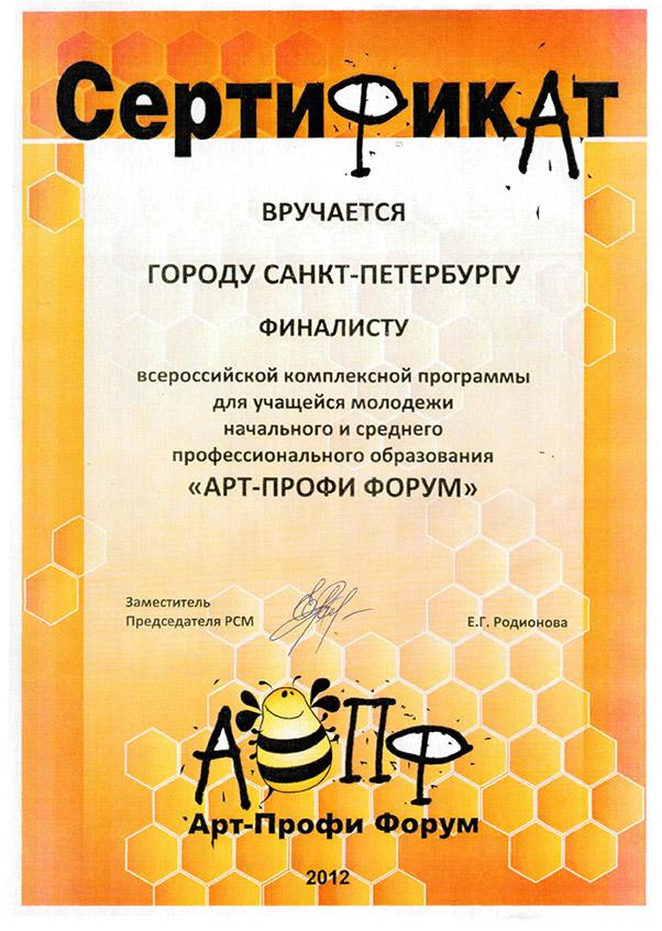 "Сертификат ""Арт-Профи"""